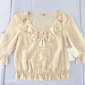 NWT Leifsdottir cream silk blouse top sz 4